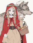 1girl absurdres animal big_bad_wolf_(grimm) bottle braid breasts brown_hair cheese cloak fingernails food freckles glasses green_eyes hand_up hat head_wreath highres hood hood_up hooded_cloak little_red_riding_hood little_red_riding_hood_(grimm) long_hair long_sleeves looking_at_viewer oversized_animal parted_lips picnic_basket pillow_hat pince-nez pink_nails red_cloak red_hood sankomichi simple_background skirt_hold twin_braids underbust white_background wine_bottle wolf