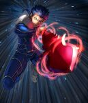 1boy armor blue_hair bodysuit closed_mouth cu_chulainn_(fate)_(all) fate/stay_night fate_(series) gae_bolg grin highres holding holding_polearm holding_weapon incoming_attack jumping lancer long_hair male_focus muscle none_(kameko227) pauldrons polearm ponytail red_eyes shoulder_armor skin_tight smile solo spiky_hair type-moon weapon