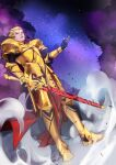 1boy absurdres armor blonde_hair clouds dutch_angle ea_(fate/stay_night) earrings fate/stay_night fate_(series) full_armor full_body gilgamesh gold_armor gouichi hair_up highres jewelry male_focus red_eyes sky smoke solo standing star_(sky) starry_sky sword weapon