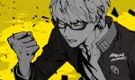 1boy absurdres bangs btmr_game clenched_hand glasses greyscale hair_between_eyes highres jacket long_sleeves male_focus monochrome narukami_yuu persona persona_4 school_uniform shirt signature simple_background solo spot_color upper_body yasogami_school_uniform yellow_background yellow_eyes