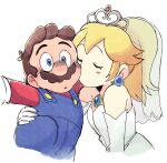 1boy 1girl bare_shoulders blonde_hair blue_eyes blush blush_stickers bridal_veil bride brown_hair cheek_kiss dress earrings elbow_gloves facial_hair formal gloves jewelry kiss makeup mario mario_(series) overalls princess_peach red_headwear red_shirt shirt strapless strapless_dress super_mario_odyssey tiara tsubobot veil wedding_dress white_dress white_gloves