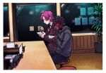 1boy 1girl applechoc avenger bazett_fraga_mcremitz black_hair bowl business_suit chewing chopsticks eating fate/hollow_ataraxia fate_(series) formal from_side headband holding hood hoodie necktie plant purple_hair restaurant sitting suit tattoo