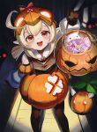 1girl ahoge alternate_costume arm_up bare_shoulders basket blonde_hair blush bomb bow brown_gloves candy costume film_grain food genshin_impact gloves halloween halloween_costume helmet holding holding_basket jack-o'-lantern jsih klee_(genshin_impact) long_hair looking_at_another open_mouth orange_eyes pointy_ears pumpkin red_bow sleeves_past_wrists smile solo standing teeth tongue twintails upper_teeth