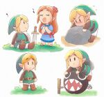 1boy 1girl anniversary belt blonde_hair blue_dress boots brown_footwear chain_chomp chibi closed_mouth dress feathers flower green_headwear green_robe green_tunic hair_flower hair_ornament highres link looking_at_another male_focus marin_(the_legend_of_zelda) multiple_views music open_mouth orange_hair pointy_ears rock sidelocks singing sitting sword the_legend_of_zelda the_legend_of_zelda:_link's_awakening tsubobot weapon white_background