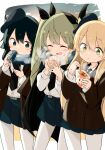 3girls :t anchovy_(girls_und_panzer) anzio_school_uniform bangs baozi barashiya belt beret black_belt black_cape black_coat black_eyes black_hair black_headwear black_neckwear black_ribbon black_scarf black_skirt blonde_hair braid breath can cape carpaccio_(girls_und_panzer) cellphone closed_eyes closed_mouth coat commentary demitas dress_shirt drill_hair drinking eating energy_drink eyebrows_visible_through_hair food girls_und_panzer green_eyes green_hair hair_ribbon hat highres holding holding_can holding_food holding_phone long_hair long_sleeves miniskirt multiple_girls necktie open_mouth pantyhose pepperoni_(girls_und_panzer) phone pleated_skirt ribbon scarf school_uniform shirt short_hair side_braid skirt smartphone smile soda_can standing takoyaki tilted_headwear twin_drills twintails white_legwear white_shirt wing_collar winter_clothes