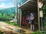 1girl backpack bag bangs bare_arms bench bow bowtie chromatic_aberration commentary film_grain frilled_legwear furude_rika highres higurashi_no_naku_koro_ni holding holding_bag kneehighs lamppost long_hair looking_at_viewer mary_janes mountainous_horizon nshi00 outdoors pine_tree pink_neckwear puddle purple_hair randoseru red_footwear scenery shirt shoes short_sleeves skirt solo suspender_skirt suspenders tagme tree umbrella utility_pole violet_eyes white_legwear white_shirt wind wind_lift