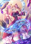 1girl artist_name bangs beatrice_(re:zero) blonde_hair blue_eyes book butterfly-shaped_pupils capelet commentary crystal dot_mouth drill_hair floating floating_book floating_object full_body hair_ribbon long_sleeves looking_at_viewer open_book parted_bangs pink_ribbon pom_pom_(clothes) re:zero_kara_hajimeru_isekai_seikatsu ribbon serious sidelocks solo standing standing_on_liquid striped striped_legwear symbol-shaped_pupils takuyarawr twin_drills twintails water wide_sleeves