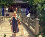 1girl :t architecture banner black_hair blue_eyes blurry_foreground bow bridge bug butterfly chalkboard_sign dango day dot_nose east_asian_architecture eyebrows_visible_through_hair fence fish food full_body furisode goldfish hair_bow hair_ornament hakama highres hitodama holding holding_food hololive huge_filesize insect japanese_clothes kimono koyuki_ekaki lantern leaf looking_at_viewer nobori noren oozora_subaru oruyanke_(shirakami_fubuki) outdoors paper_lantern railing red_bow sanshoku_dango shrine sign solo stairs stone_stairs subaru_duck tile_roof virtual_youtuber wagashi walking wooden_bridge yukata