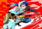 1boy armor blue_hair bodysuit capelet chain closed_mouth cu_chulainn_(fate)_(all) cu_chulainn_(fate/grand_order) earrings fate/grand_order fate/stay_night fate_(series) fur-trimmed_hood fur_trim gae_bolg grin harem_pants holding holding_polearm holding_staff holding_weapon hood hood_up hooded_capelet jewelry kystktstura lancer long_hair looking_to_the_side male_focus multiple_persona pants pauldrons polearm ponytail red_eyes shoulder_armor skin_tight smile solo spiky_hair staff toeless_legwear transformation type-moon weapon wooden_staff