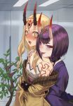 2girls :p @_@ bare_shoulders blonde_hair blush bob_cut collarbone facial_mark fate/grand_order fate_(series) hand_on_another's_shoulder highres horns ibaraki_douji_(fate/grand_order) japanese_clothes kimono long_hair looking_at_another multiple_girls ne.corn oni oni_horns open_mouth purple_hair purple_kimono short_hair shuten_douji_(fate/grand_order) smile tattoo tears tongue tongue_out violet_eyes wavy_mouth yellow_eyes yellow_kimono yuri