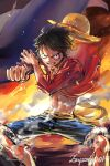 1boy abs bangs black_hair blue_shorts clenched_hand commentary english_commentary fire hat hat_removed headwear_removed incoming_punch looking_at_viewer male_focus monkey_d_luffy one_piece open_clothes open_shirt parted_lips red_shirt sash scar scar_on_face shirt short_hair shorts signature smile solo standing straw_hat wind yellow_sash zzyzzyy
