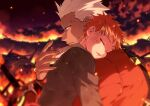 2boys archer blurry blurry_background burning carrying child closed_eyes dark_skin dark_skinned_male dirty embers emiya_shirou fate/stay_night fate_(series) from_side head_on_another's_shoulder holding holding_person k_gear_labo multiple_boys redhead time_paradox white_hair younger