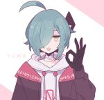 1boy ahoge aqua_hair bags_under_eyes bandaged_neck bangs black_gloves brown_jacket character_name clarevoir closed_mouth commentary drawstring english_commentary engrish_commentary gloves hair_over_one_eye half-closed_eyes hand_up highres hood hoodie jacket long_sleeves looking_at_viewer male_focus ok_sign open_clothes open_jacket original outline pink_outline shiny shiny_hair short_hair simple_background solo sweater tongue tongue_out two-tone_background upper_body white_background white_hoodie white_sweater yellow_eyes yuwa_(clarevoir)