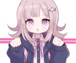 1girl backpack bag bangs black_jacket blunt_bangs blush brown_hair chestnut_mouth clarevoir clenched_hands collared_shirt commentary danganronpa english_commentary eyebrows_visible_through_hair flat_chest hair_ornament hairclip hands_up jacket long_sleeves looking_at_viewer mixed-language_commentary nanami_chiaki neck_ribbon open_mouth outline paw_pose pink_eyes pink_neckwear pink_outline pink_ribbon ribbon shiny shiny_hair shirt short_hair simple_background solo super_danganronpa_2 teeth two-tone_background upper_body white_background white_shirt