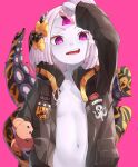 1girl abigail_williams_(fate/grand_order) absurdres bandaid bandaid_on_forehead black_bow black_jacket blush bow breasts crossed_bandaids fate/grand_order fate_(series) forehead grey_hair ha_kang hair_bow hair_bun heroic_spirit_traveling_outfit highres huge_filesize jacket legs long_hair looking_at_viewer multiple_bows multiple_hair_bows navel orange_belt orange_bow small_breasts smile stuffed_animal stuffed_toy tentacles violet_eyes