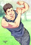 1boy alternate_costume bare_arms bare_shoulders blue_tank_top brown_hair camouflage camouflage_pants collarbone cowboy_shot flexing idolmaster idolmaster_side-m jewelry kiduguch male_focus necklace pants pose running shingen_seiji short_hair solo tank_top toned toned_male violet_eyes