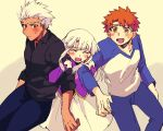 1girl 2boys archer arm_hug black_shirt blush brown_eyes dark_skin dark_skinned_male denim emiya_shirou fate/stay_night fate_(series) illyasviel_von_einzbern jeans koishi_(rondtan) looking_at_another multiple_boys orange_hair pants pulling raglan_sleeves shirt simple_background smile sweatdrop white_hair yellow_eyes