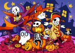 3boys annoying_dog artist_name astigmatism_(undertale) belt_boots black_pants blue_jacket blue_skin boots bow bowtie brown_hair candy candy_cane cape cloak closed_eyes colored_skin commentary crescent_moon dark_skin english_commentary fang flowes food frisk_(undertale) froggit ghost gloves grin halloween halloween_bucket halloween_costume hat hot_dog_costume jack-o'-lantern jacket leaf_pile lollipop mask monster_kid_(undertale) moon multiple_boys multiple_others napstablook night night_sky nina_matsumoto no_socks one_eye_closed open_mouth pants papyrus_(undertale) pink_footwear pumpkin purple_jacket purple_pants purple_suit red_gloves sans signature skeleton sky slippers smile star_(sky) star_(symbol) starry_sky swirl_lollipop teeth temmie undertale vegetoid whimsun winged_footwear wings witch_hat yellow_bow