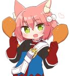 1girl 7th_dragon 7th_dragon_(series) :d animal_ear_fluff animal_ears bangs belt belt_buckle blue_jacket blush buckle cat_ears chicken_leg commentary_request eyebrows_visible_through_hair fang food gloves green_eyes hair_between_eyes hair_bobbles hair_ornament hands_up harukara_(7th_dragon) heart highres holding holding_food jacket long_sleeves looking_at_viewer naga_u one_side_up open_mouth pink_hair red_gloves smile solo upper_body white_belt