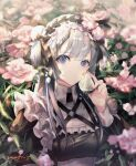 1girl blue_eyes flower food frills fruit highres hirose_(10011) holding holding_food maid maid_headdress original pink_flower short_twintails strawberry twintails white_hair