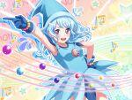 bang_dream! blue_hair blush dress long_hair matsubara_kanon ojamajo_doremi smile violet_eyes wink