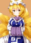 1girl bangs blonde_hair breasts brown_background closed_mouth cowboy_shot crossed_arms dress eyebrows_visible_through_hair fox_tail frilled_shirt_collar frilled_sleeves frills hair_between_eyes hat highres kitsune large_breasts long_sleeves looking_at_viewer multiple_tails pillow_hat ruu_(tksymkw) short_hair simple_background sleeves_past_fingers sleeves_past_wrists smile solo standing tail touhou white_dress white_headwear wide_sleeves yakumo_ran yellow_eyes yellow_tail