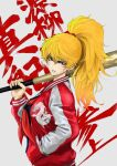 1girl alternate_costume alternate_weapon anagumasan banchou baseball_bat black_serafuku blonde_hair breasts brown_eyes commentary_request eyelashes final_fight fingernails genryuusai_maki hand_in_pocket high_ponytail highres holding holding_weapon jacket letterman_jacket long_hair looking_at_viewer medium_breasts red_jacket school_uniform serafuku solo tsurime weapon