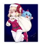 2girls :o alternate_costume araki_(qbthgry) bag bell belt blonde_hair blue_background blue_bow blue_eyes blue_hair boots border bow breasts chibi cirno clenched_hand commentary_request dated detached_collar elbow_gloves eyebrows_visible_through_hair feet_up full_body fur_trim gloves gradient gradient_background hair_between_eyes hair_bow hair_ribbon hand_up hat holding holding_bag looking_at_another multiple_girls open_mouth outside_border pantyhose red_eyes red_footwear red_gloves red_headwear red_ribbon ribbon rumia santa_costume santa_hat short_hair shouting signature simple_background small_breasts touhou white_background white_legwear
