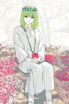 1boy :d enkidu eyebrows_visible_through_hair fate/strange_fake fate_(series) feet_out_of_frame field flower flower_field green_hair grey_eyes highres interlocked_fingers long_sleeves looking_at_viewer male_focus medium_hair open_mouth own_hands_together purple_flower red_apple red_flower sankomichi sitting smile solo white_robe