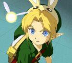 1boy animal_ears belt blonde_hair blue_eyes hat link meme monokuroumao open_mouth rabbit_ears sailor_moon_redraw_challenge sweatdrop tatl the_legend_of_zelda the_legend_of_zelda:_majora's_mask tunic young_link