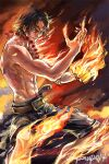 1boy abs bangs belt black_pants clenched_hand commentary english_commentary fire flaming_hand hands_up jewelry looking_at_viewer male_focus muscle necklace one_piece pants parted_lips portgas_d_ace shirtless short_hair signature smirk solo standing wind zzyzzyy