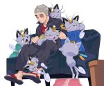 1boy alolan_form alolan_meowth black_jacket black_pants brushing commentary_request couch footstool gen_7_pokemon green_(grimy) grey_hair hair_brush half-closed_eyes head_down highres holding holding_pokemon jacket male_focus nanu_(pokemon) pants pokemon pokemon_(creature) pokemon_(game) pokemon_sm red_eyes red_shirt sandals shirt short_sleeves sitting toes