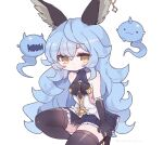 1girl :3 animal_ears artist_name bangs bare_shoulders black_footwear black_gloves black_legwear blue_hair blue_skirt blush breasts clarevoir closed_mouth collarbone commentary commission english_commentary ferry_(granblue_fantasy) frilled_gloves frilled_skirt frills fugee_(granblue_fantasy) gloves granblue_fantasy half-closed_eyes highres horns jewelry kneeling long_hair looking_at_viewer medium_breasts miniskirt mixed-language_commentary nicola_(granblue_fantasy) one_knee open_mouth pleated_skirt sharp_teeth shiny shiny_clothes shiny_hair shiny_skin shirt sideboob simple_background single_earring single_horn skindentation skirt sleeveless sleeveless_shirt solo teeth thigh-highs twitter_username very_long_hair watermark white_background yellow_eyes
