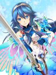 1girl bangs belt blue_eyes blue_hair breasts butterfly_wings capelet cloak falchion_(fire_emblem) fire_emblem fire_emblem_awakening fire_emblem_heroes gloves highres holding holding_sword holding_weapon kakiko210 long_hair looking_at_viewer lucina_(fire_emblem) official_alternate_costume small_breasts smile solo sword tiara weapon wings