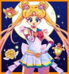 1girl bangs bishoujo_senshi_sailor_moon blonde_hair blue_eyes bow choker cowboy_shot diadem double_bun earrings eyebrows_visible_through_hair gloves hand_on_hip highres jewelry long_hair looking_at_viewer open_mouth parted_bangs q_yan31 red_bow sailor_moon smile solo star_(symbol) tsukino_usagi twintails v very_long_hair white_gloves