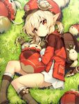 1girl :o back backpack bag bag_charm bangs blonde_hair boots brown_footwear brown_gloves charm_(object) clover darnell dress eyebrows_visible_through_hair four-leaf_clover genshin_impact gloves grass hat highres klee_(genshin_impact) knee_boots long_sleeves low_twintails lying on_side open_mouth outdoors pointy_ears red_dress red_eyes red_headwear short_twintails sidelocks solo twintails