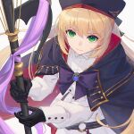 1girl artoria_pendragon_(all) artoria_pendragon_(caster) black_gloves blonde_hair bow bowtie closed_mouth coat fate/grand_order fate_(series) floating_hair gloves green_eyes holding holding_staff long_hair long_sleeves looking_at_viewer purple_capelet purple_neckwear simple_background solo staff very_long_hair white_coat whitem_(whiteemperor2020)