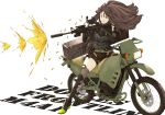 1214_goldfische 1girl absurdres aiming assault_rifle bangs belt black_footwear black_gloves black_shorts boots brown_eyes brown_hair commentary_request english_text firing full_body girls_frontline gloves grey_legwear grey_shirt ground_vehicle gun hair_between_eyes highres holding holding_gun holding_weapon knee_pads long_hair long_sleeves m4_carbine m4a1_(girls_frontline) motor_vehicle motorcycle one_eye_closed pouch rifle scope shells shirt short_shorts shorts simple_background sitting solo strap striped striped_shirt suitcase suppressor thigh-highs weapon white_background