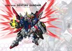 character_name chibi clenched_hand destiny_gundam energy_wings glowing glowing_hand gundam gundam_seed gundam_seed_destiny highres mecha mechanical_wings no_humans open_hand red_eyes shield solo v-fin wings yatta070622 zoom_layer