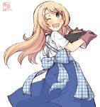 1girl alternate_costume apron artist_logo blonde_hair blue_apron blue_eyes blue_skirt commentary_request dated dress employee_uniform from_behind gingham_apron highres jervis_(kantai_collection) kanon_(kurogane_knights) kantai_collection kobeya kobeya_uniform long_hair looking_at_viewer oven_mitts plaid plaid_apron sailor_dress simple_background skirt solo stargazy_pie uniform unmoving_pattern waitress white_background