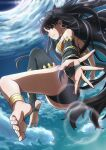 1girl absurdres anklet asymmetrical_legwear asymmetrical_sleeves bangs barefoot black_bow black_hair black_legwear black_panties black_sleeves bow detached_sleeves earrings fate/grand_order fate_(series) floating_hair grin hair_bow highres ishtar_(fate)_(all) ishtar_(fate/grand_order) jewelry lens_flare long_hair looking_at_viewer mitsuria_(kanesho1102) outstretched_arm outstretched_hand panties red_eyes shiny shiny_hair single_sleeve single_thighhigh sky smile soles solo thigh-highs twintails underwear very_long_hair