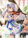 1girl bangs blue_bow blue_flower blush bow closed_mouth curtains floating_hair flower frilled_skirt frills green_eyes hair_flower hair_intakes hair_ornament highres holding holding_instrument instrument kuuki_shoujo long_hair miniskirt music piano playing_instrument qian_wu_atai shiny shiny_hair silver_hair single_thighhigh skirt sleeveless smile solo standing striped striped_bow stuffed_animal stuffed_toy teddy_bear the_personification_of_atmosphere thigh-highs very_long_hair violin white_skirt wind