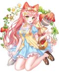 1girl :d absurdres aina_156cm basket blue_dress bow choker dress flower food food_themed_hair_ornament fork frills fruit green_eyes hair_ornament highres huge_filesize long_hair no_socks open_mouth original pink_hair pink_theme smile strawberry strawberry_hair_ornament
