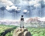 1boy back_arrow back_arrow_(character) black_hair black_jacket boots clouds day forest from_behind highres jacket key_visual knee_boots mountain nature official_art outdoors pants scenery short_hair single_sleeve solo standing torn_clothes torn_pants white_pants wide_shot