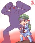 1girl alternate_costume backpack bag blue_hair cosplay full_body hat highres kantai_collection kawashiro_nitori look-alike mecha ooshio_(kantai_collection) tetsujin_28-gou