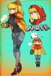 ... 1girl adapted_costume arm_cannon blonde_hair blue_eyes casual coffee_mug cup expressionless full_body hand_in_pocket high_heels high_ponytail highres hood hood_down hood_up jacket kuroi_moyamoya looking_at_viewer metroid mug open_clothes open_jacket ponytail ribbed_sweater samus_aran simple_background solo standing steam sweater varia_suit weapon