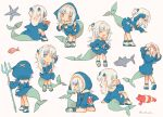 1girl adjusting_collar animal_hood arm_support blue_eyes blue_hoodie chibi clownfish crossed_legs curtsey fish_tail gawr_gura hair_brush hair_brushing highres hololive hololive_english hood hoodie leaning_forward lobster long_hair multicolored_hair multiple_girls music nintendo_switch playing_games polearm saya_(sayaya) shark shark_hood shark_tail simple_background singing sitting starfish streaked_hair tail trident twitter_username two_side_up v_over_eye watson_cross weapon white_background white_hair yawning