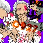 2boys applying_makeup black_nails hair_up halloween hanamura_yousuke kuma_(persona_4) makeup male_focus multiple_boys nail_polish narukami_yuu paintbrush persona persona_4 pink_blood pink_eyes saitou_rokuro satonaka_chie white_hair wince