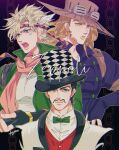 3boys abs aqua_eyes artist_name battle_tendency beard black_hair blonde_hair blue_eyes bow bowtie brown_hair caesar_anthonio_zeppeli character_name chromatic_aberration collared_shirt facial_hair facial_mark feathers fingerless_gloves formal gloves goggles goggles_on_headwear green_eyes green_jacket green_neckwear gyro_zeppeli hair_feathers hat headband highres jacket jojo_no_kimyou_na_bouken kogatarou lipstick long_hair makeup male_focus multiple_boys muscle mustache parted_lips phantom_blood pink_scarf popped_collar scarf shirt short_hair signature simple_background smile steel_ball_run suit top_hat vest white_shirt will_anthonio_zeppeli yellow_lipstick