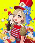 1girl :d bangs black_gloves breasts brown_eyes commentary_request confetti dress epaulettes gloves hand_up hat highres medium_breasts open_mouth original pennant red_dress red_headwear shako_cap short_hair smile solo string_of_flags stuffed_animal stuffed_penguin stuffed_toy yellow_background yuu_(higashi_no_penguin)